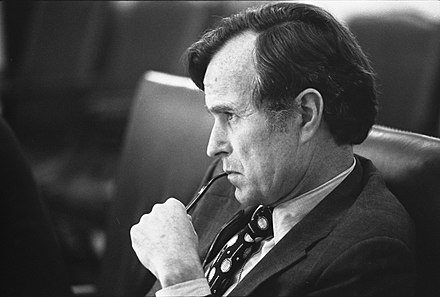Bush, as CIA Director, listens at a meeting following the assassinations in Beirut of Francis E. Meloy Jr. and Robert O. Waring, 1976. CIA Director George H.W. Bush listens at a meeting following the assassinations in Beirut, 1976 - NARA - 7064954.jpg