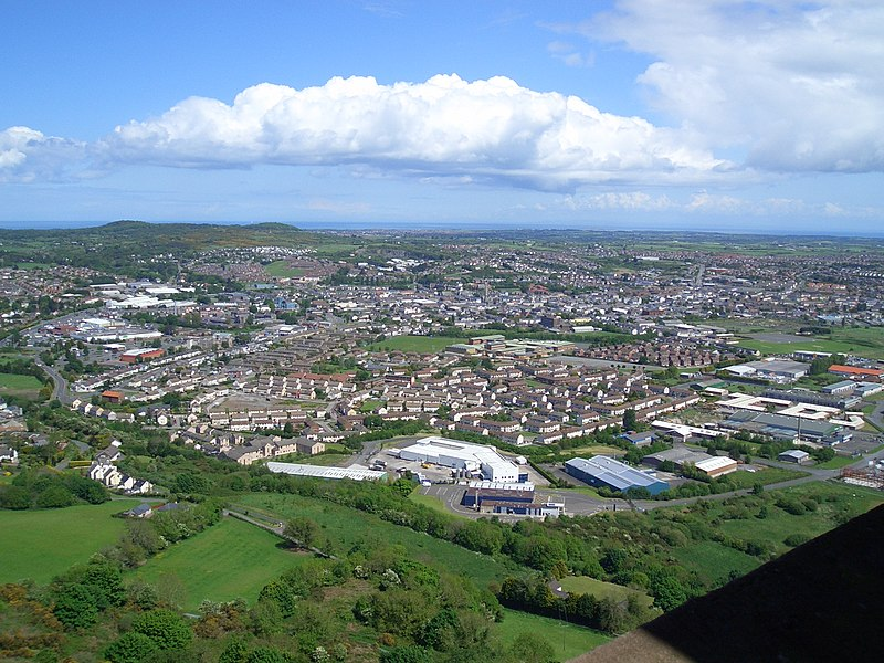 View of Newtownards from Scrabo Tower in County Down, Northern Ireland (Taken with Casio Exilim EXS100 on Sunday 20th May 2007 at 13:00)