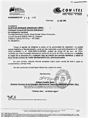 Censorship in Venezuela - A communication from General Director of CONATEL, William Castillo Bolle, giving the IP addresses and other information of Venezuelan Twitter users to SEBIN General Commissioner Gustavo González López.