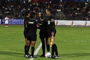 2014 Copa América Femenina - Officials of the Ecuador – Peru match: Laura Fortunato,  Mariana De Almeida, Marina Quiroga, Sirley Cornejo.