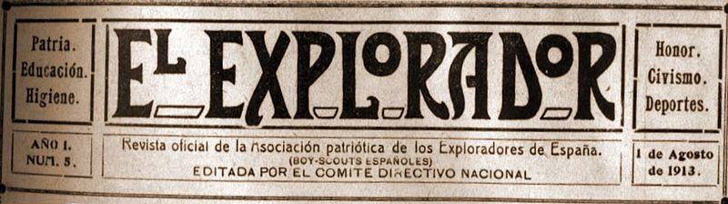 Cabecera de la revista El Explorador (1913).