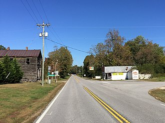 Cabin Point, Virginia - Intersection of Colonial Trial and Cabin Point Road; Cabin Point Mercantile store on the right