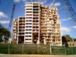 "Cabrini–Green Homes - Demolition of William Green Homes in 2006. This is the demolition of 534 West Division Street, nicknamed ""Tha Jube""."
