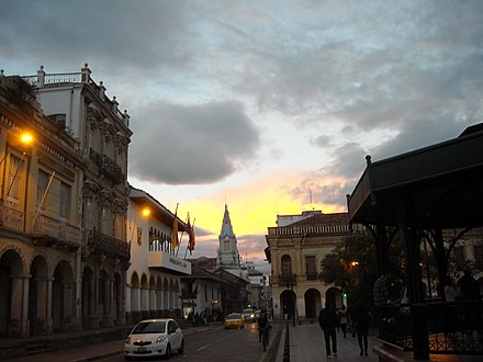 Street view of Simon Bolivar Street, named after Simon Bolivar, next to Calderon Park, in the Historical Center. Calles Centro Historico de Cuenca.JPG