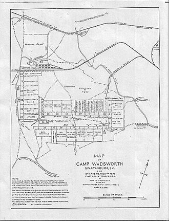 Camp Wadsworth - 27th Division's 1918 map of Camp Wadsworth, South Carolina.