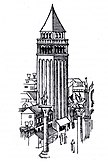 Engraving of St Mark's campanile as it appeared in 1468