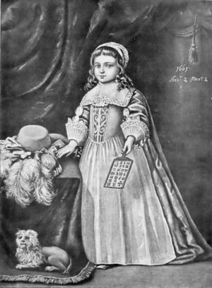 Hornbook - Miss Campion holding a hornbook, 1661. From Tuer's History of the Horn-Book.