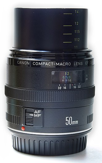 Canon EF 50mm lens - Canon EF 50mm compact macro with inner lens barrel extended