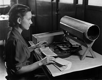 United States Census - A woman with a Hollerith pantograph punch, the keyboard is for the 1920 US Census population card