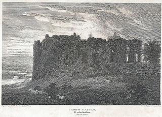 Carew Castle, Pembrokeshire: (sun set effect)
