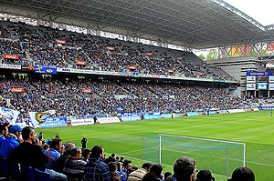 Estadio Carlos Tartiere - One of the tribunes during a match against Racing Ferrol in March 2015.