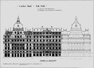 Carlton Hotel, London - C. J. Phipps's drawings for the new hotel. The adjacent Her Majesty's Theatre is shown in outline on the right.