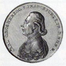 10 Dukaten (1810) auf die Ernennung Dalbergs zum Großherzog von Frankfurt (Quelle: Wikimedia)