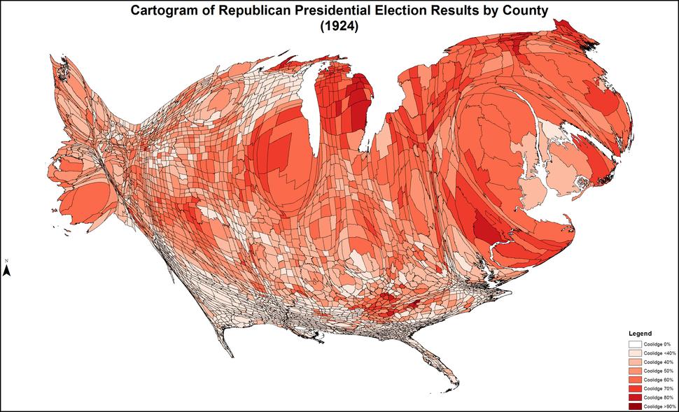 CartogramRepublicanPresidentialCounty1924Colorbrewer