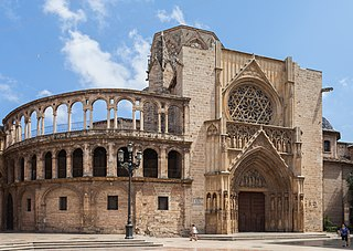 Cathedral in Valencia, Spain. Valencian Gothic style