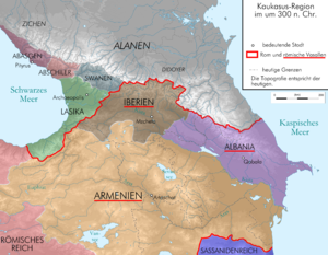 "Roman influence in Caucasian Albania - Caucasian Albania (actual Azerbaijan) was a vassal of the Roman Empire around 300 AD (inside the red line the ""Vassal States"" of Rome: Albania, Iberia and Armenia)"
