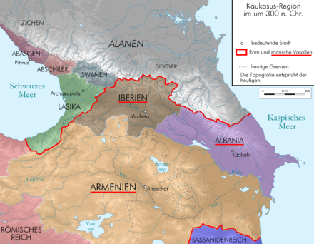Rome and satellite kingdom of Armenia around 300, after Narseh's defeat Caucasus 300 map alt de.png