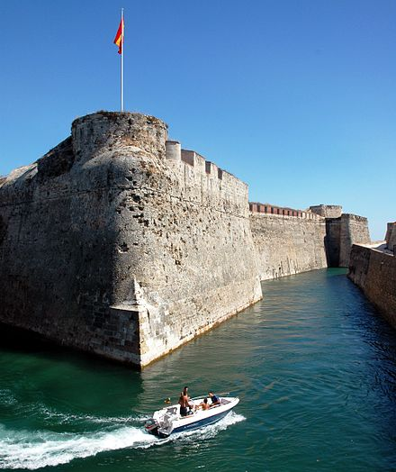 The Royal Walls of Ceuta, built from 962 to the 18th century, and navigable moats. Ceuta Spain crop.jpg