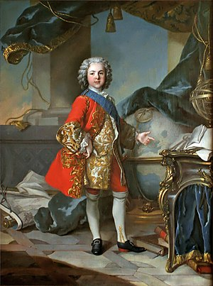 Louis, Dauphin of France (son of Louis XV) - Louis de France at 9 in a study with a globe and a fortification treatise, by Louis Tocqué.
