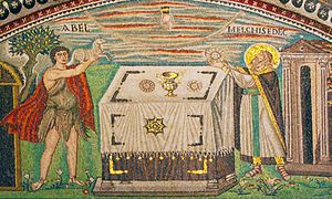 Water Newton Treasure - Jewelled chalice depicted at Ravenna on similar design to the Water Newton bowl
