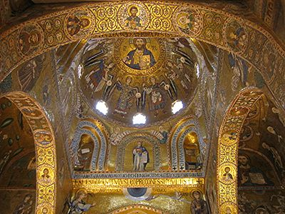 The Palatine Chapel of the Norman Kings of Sicily. Built with Byzantine architectural conventions and with mosaics attributed to Byzantine artists.