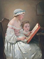 Painting of a woman reading a book to child.