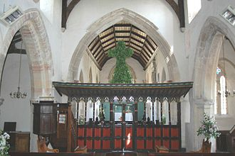 Charlton-on-Otmoor - Garlanded rood on 16th-century screen in St Mary the Virgin parish church
