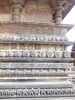 Chennakeshava Temple, Belur - Bands of carvings on one side of the circumambulatory platform.