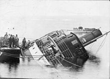 Cheslakee (steamboat) capsized at Van Anda, BC, 22 Jan 1913.