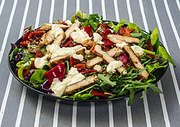 Chicken salad on striped tablecloth.jpg