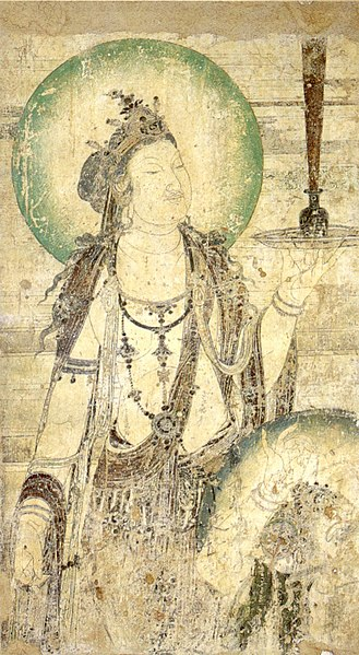 File:Chinese mural of a bodhisattva, ink and color on plaster, c. 952, Honolulu Academy of Arts.jpg
