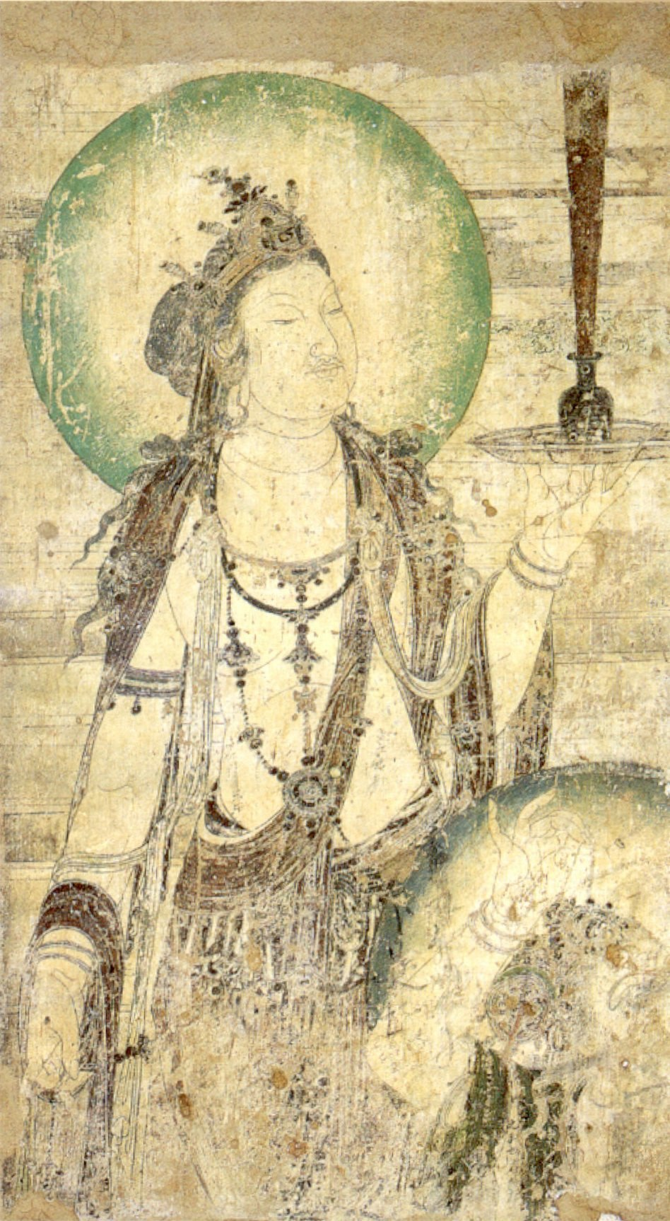 Chinese mural of a bodhisattva, ink and color on plaster, c. 952, Honolulu Academy of Arts