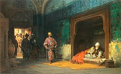 Painting by Stanisław Chlebowski, Sultan Bayezid prisoned by Timur, 1878, depicting the capture of Bayezid by Timur.