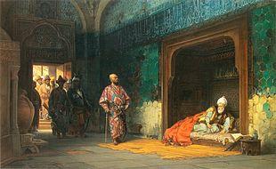Bajazet I prigioniero di Tamerlano.