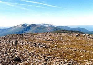 "Chno Dearg - Looking west from the summit over the ""Easains"" and The Grey Corries to Ben Nevis."