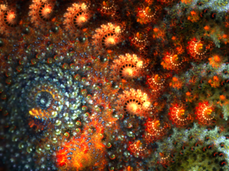 Iterated function system - Colored IFS designed using Apophysis software and rendered by the Electric Sheep.