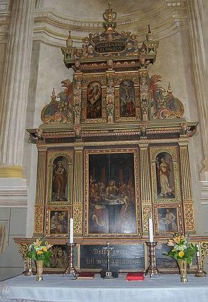 Mjällby - The altar inside the Mjällby Church.
