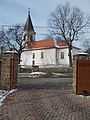Church of the Visitation across the Klebelsberg Mansion main gate, 2019 Pesthidegkút-Ófalu.jpg