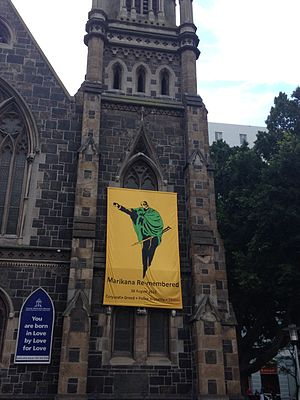 Marikana killings - Church on Green Market Square in Cape Town, South Africa with a banner commemorating the Marikana massacre