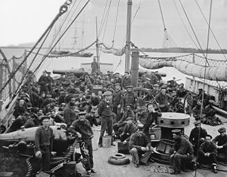 Yangtze Patrol - U.S. Navy sailors, on board an 1864 river gunboat