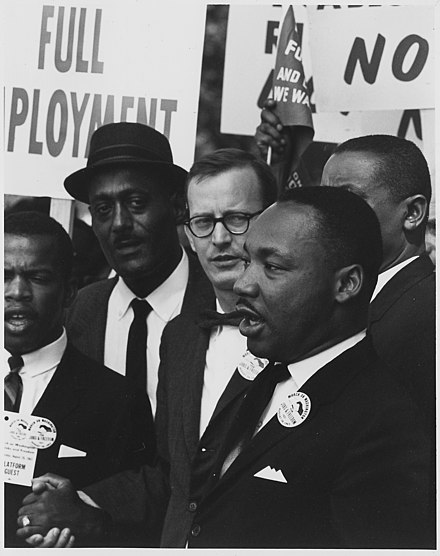 Mathew Ahmann, Catholic layman and speaker during the March on Washington, behind Martin Luther King, Jr. Civil Rights March on Washington, D.C. (Dr. Martin Luther King, Jr., President of the Southern Christian Leadership... - NARA - 542014.jpg