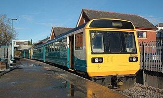 Penarth railway station - Train of two Pacer units at Penarth: a Class 142 in the foreground and a Class 143 beyond