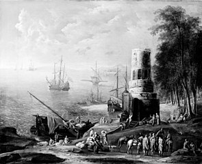 Seascape with Ships, a Forest and a Tower