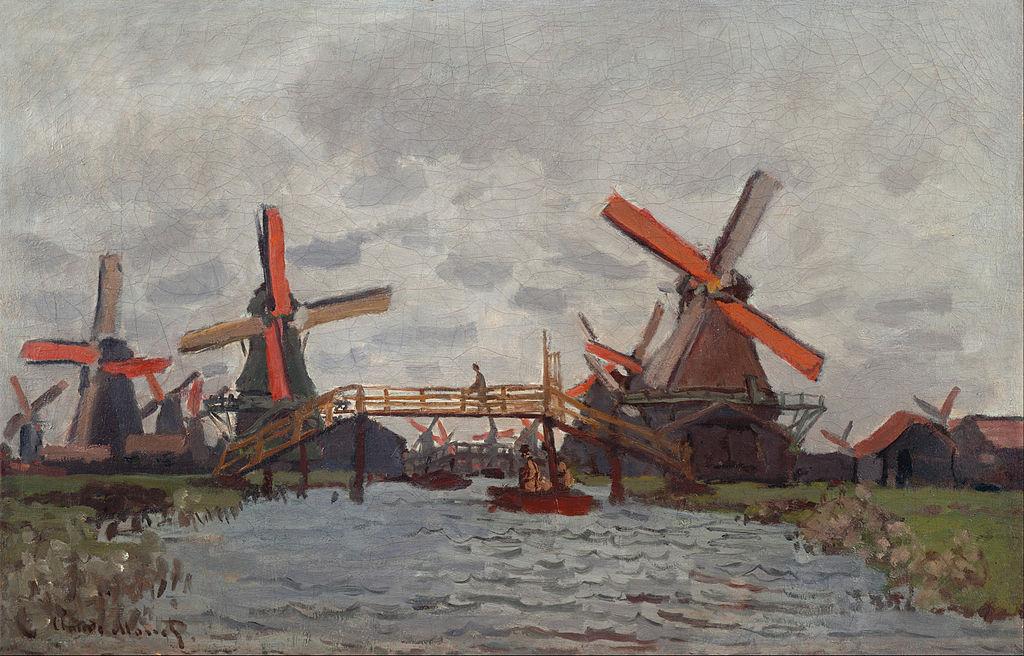 Claude Monet : Moulins à Westzijderveld près de Zaandam (1871).