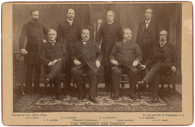 Cleveland's first cabinet. Front row, left to right: Thomas F. Bayard, Cleveland, Daniel Manning, Lucius Q. C. Lamar Back row, left to right: William F. Vilas, William C. Whitney, William C. Endicott, Augustus H. Garland