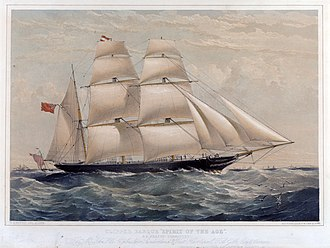 Clipper - Clipper barque Spirit of the Age 1854 by T. G. Dutton
