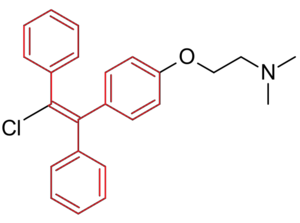 Selective estrogen receptor modulator - Figure 6: Trans-form of clomifene with the triphenylethylene structure in red.