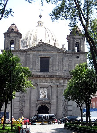 Nuestra Señora de Loreto Church - Facade of church, showing tilting