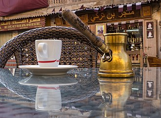 Arabic coffee - Kanaka also called rikwah or jezwah at Souq Waqif in Doha, Qatar.