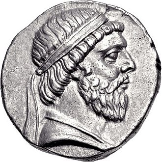 Mithridates I of Parthia - Mithridates I's portrait on the observe of a tetradrachm, showing him wearing a beard and a royal Hellenistic diadem on his head.